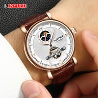 f5f76e2dc52 KINYUED Oco Relógios Mecânicos Top Marca de Luxo Automático Relógio de Ouro  Homens Relógio de Esqueleto