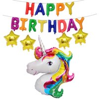 Wholesales 18pcs Set Birthday Unicorn Aluminum Balloons Kids...