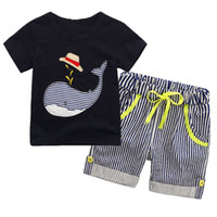 Summer Boy INS whale hat stripe suit new children cartoon di...