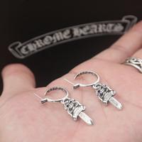 Marka Yeni 925 Ayar Gümüş Küpe Vintage Amerikan Tarzı Antik Gümüş El Yapımı Tasarımcı Takı Kılıç Saplama Küpe Kadınlar Için Sıcak
