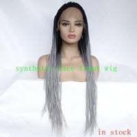 Parrucche anteriori anteriori in pizzo sintetico di Ombre nero a grigio African American American Braided Box Trecce Resistente al calore Parrucca in pizzo in fibra di calore per le donne