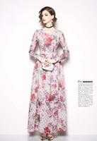 S-3XL moda elegante da senhora vestido de pista no outono, impressão de beleza vestidos de mulheres, comprimento da manga, gola, uma cor