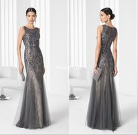 Grey Lace Mermaid Mother of the Bride Dresses Shining Crysta...