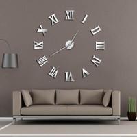 Modern DIY Büyük Duvar Saati 3D Ayna Yüzey Sticker Ev Dekorasyonu Sanat Dev Duvar Saati İzle ile Romen Rakamları Büyük
