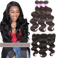 Cheap Straight Bundles with Frontal Brazilian Virgin Hair Bo...