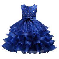 لوتس ليف اللباس 5Design الفتيات تنورة الترتر فساتين الأميرة مع القوس الكبير الماس الزهور المطرزة 3-15T