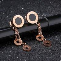 b5ce041f1186 Rose Gold Color Fashion Simple Lady s Ring Pendientes de la borla Pendiente  de acero inoxidable Joyería