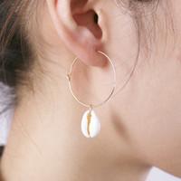 Orecchini Cerchio conchiglia per donne coreane / piccole / orecchini in oro femmina 2018 orecchini pendenti con orecchini a cerchio