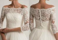 Chaqueta de boda de encaje para vestidos de novia sin tirantes elegante manga larga chaquetas de encaje nupcial blanco accesorios de boda blanca aplique de marfil bolero