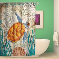지중해 해양 동물 샤워 커튼 방수 욕실 커튼 폴리 에스터 목욕 커튼 거북 고래 해마 샤워 커튼