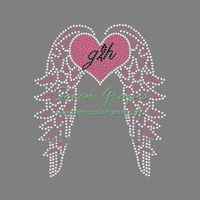 Beauty Love Heart Wings Strass Eisen Auf Transfers Hotfix Motiv Für Damen 20 stücke