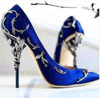 أحدث المزخرفة الصغر ورقة أشار تو هوت كوتور جمع أحذية إيدن كعب مضخة الزفاف سوبر مثير النساء أحذية عالية الكعب