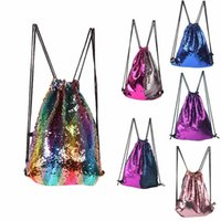New Fashion Shiny Sequins Drawstring Bag Backpacks Women Sch...