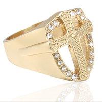 Nuovi anelli di diamanti simulati dell'anello dell hip hop dell'anello di lusso degli uomini di lusso anello di Gesù cristiano con anello croce cristallo religioso croce per shipp gratis