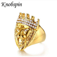 Hip Hop Gold Tone Rugido Rey Lion Head y Crown CZ Ring para hombres Rock Acero inoxidable Pinky Rings Male Jewelry