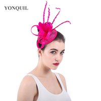 ... party fascinators hat womens wedding feather flower headbands sinamay  loops church hair accessories 2018 Vintage SYF403. US  5.12   Piece. New  Arrival a61584227242