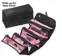 ROLL-N-GO جعل حقيبة مستحضرات التجميل حتى حالة حالات المرأة حقيبة ماكياج شنقا أدوات السفر كيت مجوهرات المنظم التجميل حالة قابلة للطي