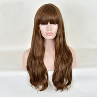 Z&F Light Brown 75CM Long Body Nature Wave Synthetic Hair wi...