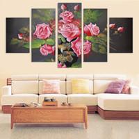 Venta caliente flores lienzo pintura sin marco impresión del arte y cartel en la pared decoración del hogar modular para pared de la habitación 5 unids nuevo arte