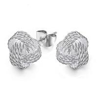 Alta calidad 925 Sterling Weave Knot Ball Stud pendientes para mujeres Party Party joyería fina