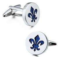 Hawson Classic Fleur de Lis Cufflinks الأزرق المينا نمط الفضة اللون صفعة الكفة للكفة الفرنسية