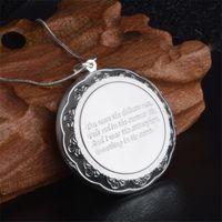 Top Quality Memória de flutuação Photo Vintage Locket Colar Pingente 925 colar de prata para as mulheres melhor presente