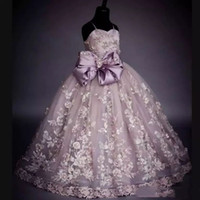 Real Pictures Flower Girls Dresses Lace Applique Beads Bow S...