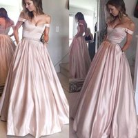 2018 Fashion off the Shoulder Long Satin Prom Dresses with P...