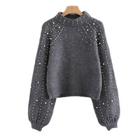 Winter Spring Women Pullover Sweaters Grey Elegent Pearl Bea...