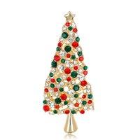 높은 품질 크리스마스 트리 여성을위한 크리스탈 핀 브로치 브로치 메리 크리스마스 선물 라인 석 배지 도매 패션 주얼리 핀