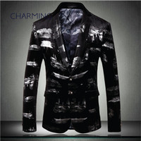 blazer suit for mens, graffiti printing high- grade fabrics d...