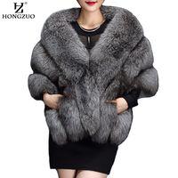 HONGZUO الشتاء الرمادية فو معطف الفرو أزياء المرأة الدافئة الاصطناعية السوداء الفراء الرأس معطف الأبيض أفخم سميكة شاول فروي 2017 pc231