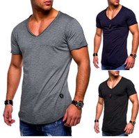 DROPSHIP 2018 새로운 도착 패션 망 티 슬림 맞는 V 넥 짧은 소매 근육 코튼 캐주얼 티셔츠 뜨거운 판매 Freeship # J05
