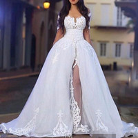 2019 vestidos elegantes do casamento com Overskirt Off the Shoulder manga comprida Lace vestidos de noiva com trem destacável