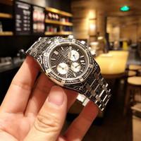 2018 новые гравировальные мужские часы с импортным многофункциональным кварцевым механизмом, 316 восьмиугольная шлифованная стальная оболочка с сетчатой поверхностью, с синим покрытием