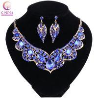 Joyas de cristal de color de oro de Dubai nupcial fijado para el banquete de boda de las novias pendiente collar accesorios para las mujeres