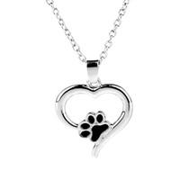 الحيوانات الأليفة مجوهرات تذكارية دائما في قلبي الكلب القط القدم pet paw طباعة القلب الحيوانات الأليفة عاشق قلادة قلادة تذكار الحيوان سحر