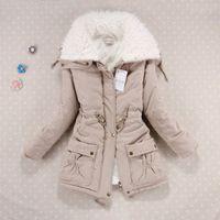 Kadınlar Kadife Kalın Sıcak Pamuk-Yastıklı Parkas Giysileri Kadın Büyük Yaka Kalın Rahat Dış Giyim Ceket Kaban Kış Sonbahar