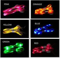 Mode LED Light Up Nylon Flat Lumineux Glowing Flashs lacets Flashing Shoelaces Lacets En 7 Couleurs pour Party Sports Cadeau FAST SHIP