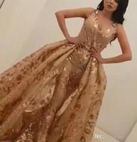 Yousef aljasmi Shining Mermaid Spitze Abendkleider Kristalle V-Ausschnitt Perlen Prom Kleider Bodenlangen Tüll Pailletten Formale Party Kleid