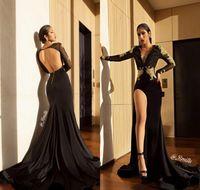 2019 sexy aperto indietro vestito da promenade nero alta fessura maniche lunghe feste pageant formale indossare abito da sera abito da sera di laurea su misura