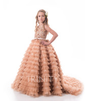 Beauty Champagne Tulle Lace Beads Layers Flower Girl Dresses...