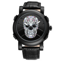 Casual Quartz Men Watch Skull Dial Fashion Analog Leather Wr...