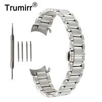 18mm 20mm 22mm Edelstahl Armband für Jacques Lemans Curved Endgurt Schmetterling Schnalle Gurt-Handgelenk-Armband-Schwarz-Silber