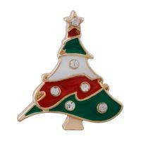 크리스마스 스냅 보석 쥬얼리 에나멜 크리스마스 트리 브로치 18MM 20MM 스냅 버튼 구슬 여성을위한 웨딩 패션 쥬얼리 액세서리