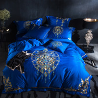 Blue Egyptian Cotton Oriental Modern Bedding set Queen King ...