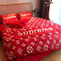 Bright Red Popular Logo Mixed Quilt Cover Suit 4 Pieces Wedd...