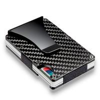 슬림 탄소 섬유 카드 소지자 RFID 차단 금속 지갑 머니 클립 케이스 X121