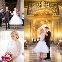 2018 أثواب الزفاف خمر ألف خط 34 الشاي طول الأكمام الطويلة بالإضافة إلى حجم فساتين الزفاف الخامس الرقبة الرباط يزين صد فساتين الزفاف قصيرة