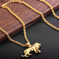 High Quality Alloy animal Lion Pendant Necklace Pure Gold Color Chain Hip-hop Necklace Jewelry For Men